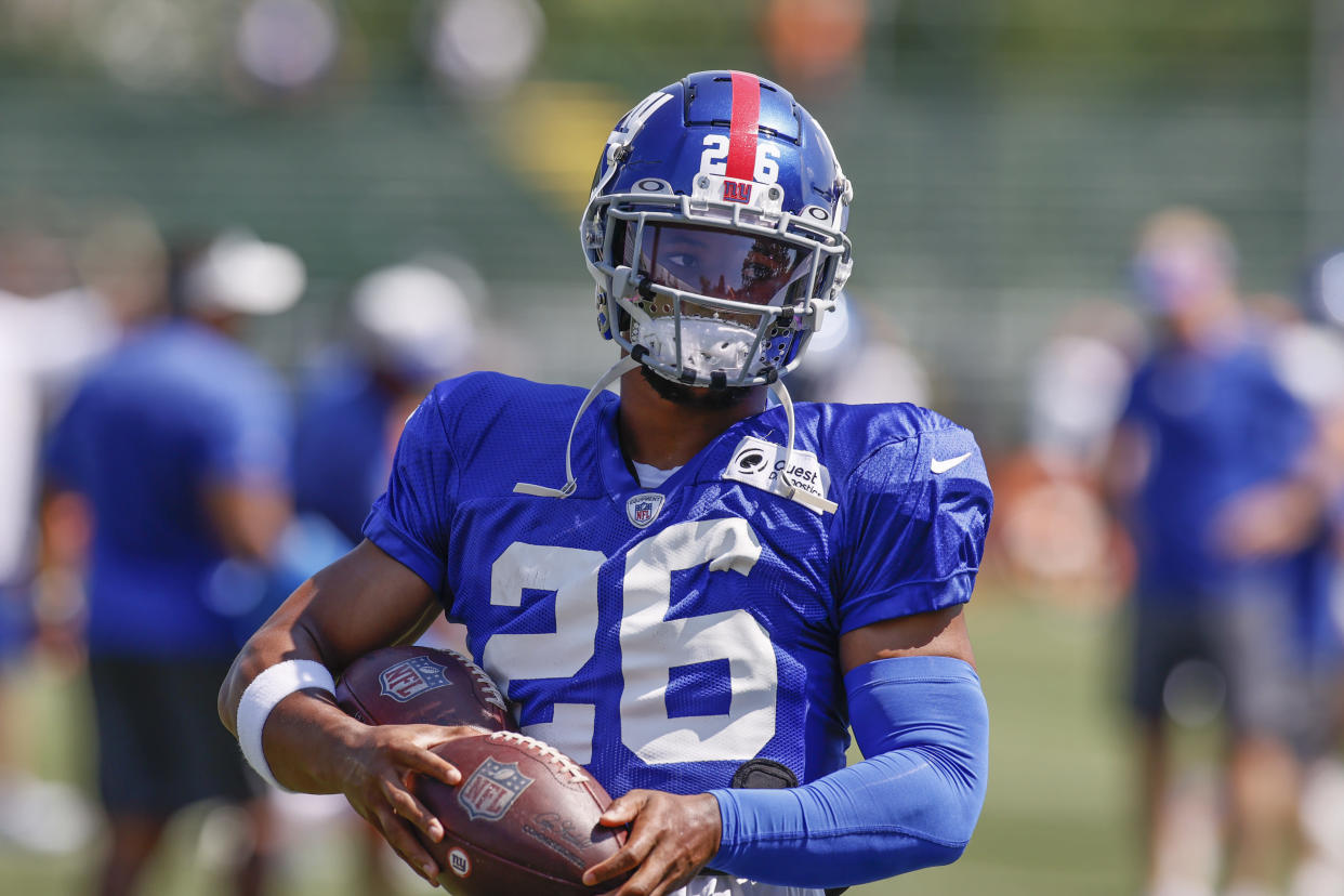 New York Giants running back Saquon Barkley is coming back from a torn ACL. (AP Photo/Ron Schwane)