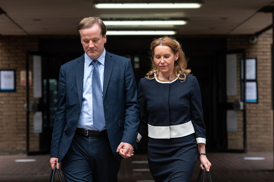 Former Conservative MP Charlie Elphicke, with MP for Dover Natalie Elphicke, leaving Southwark Crown Court in London where he is on trial accused of three counts of sexually assaulting two women.