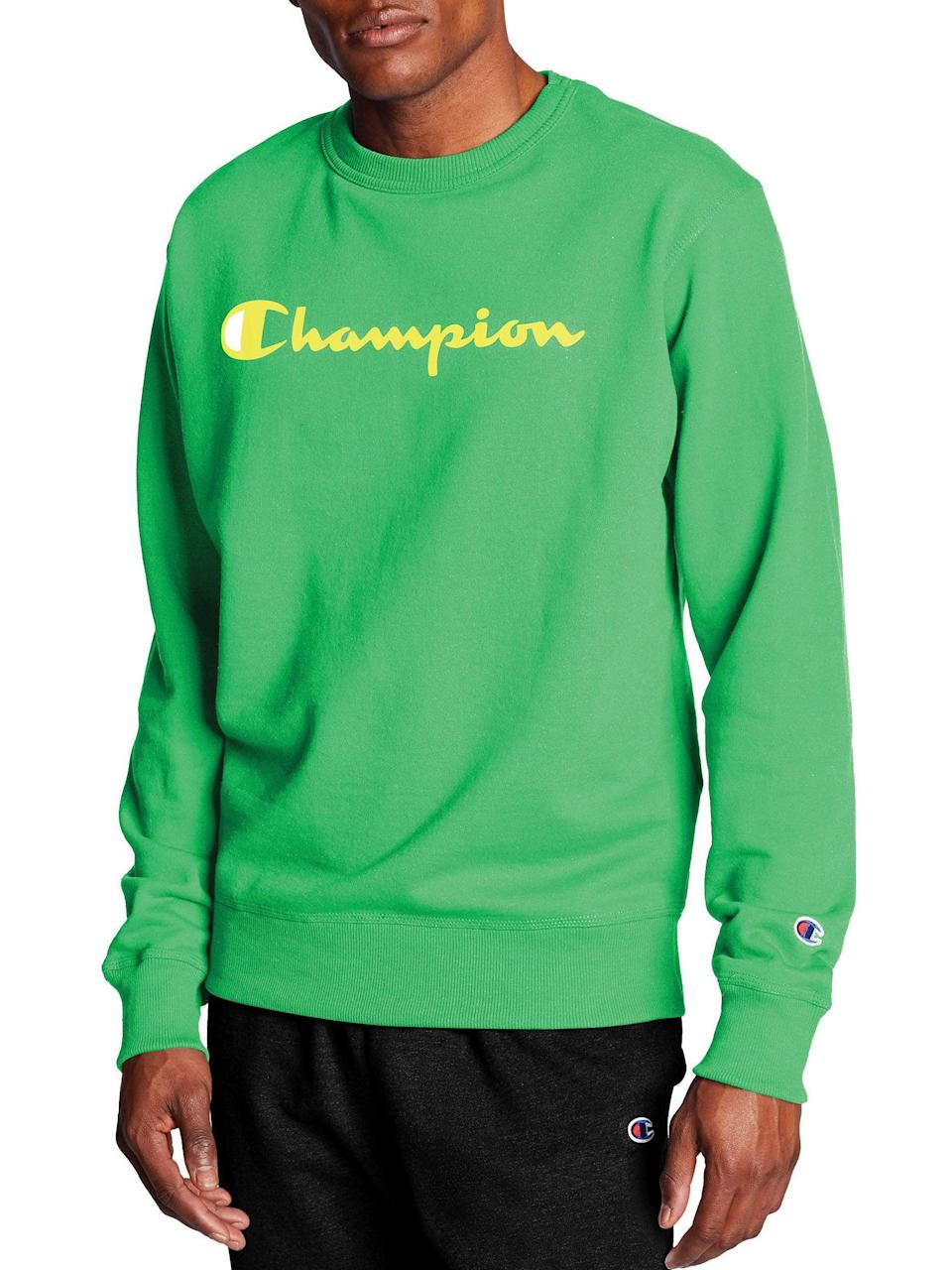 """<h2>40% Off Champion Powerblend Graphic Crew At Walmart</h2><br>""""As the fashion writer on the Shopping team, I spent days surfacing the <a href=""""https://www.refinery29.com/en-us/2020/10/10075070/womens-dresses-sale-amazon-prime-day-deals-2020"""" rel=""""nofollow noopener"""" target=""""_blank"""" data-ylk=""""slk:cutest dresses"""" class=""""link rapid-noclick-resp"""">cutest dresses</a> and <a href=""""https://www.refinery29.com/en-us/2020/10/10088461/womens-cozy-sweaters-outerwear-deals-amazon-prime-day-2020"""" rel=""""nofollow noopener"""" target=""""_blank"""" data-ylk=""""slk:coziest separates"""" class=""""link rapid-noclick-resp"""">coziest separates</a> that could be bought with Prime Day dollars. (I also uncovered a motherlode of top-rated, <a href=""""https://www.refinery29.com/en-us/2020/10/10076678/calvin-klein-underwear-amazon-prime-day-deal-sale-2020"""" rel=""""nofollow noopener"""" target=""""_blank"""" data-ylk=""""slk:marked-down unmentionables from Calvin Klein"""" class=""""link rapid-noclick-resp"""">marked-down unmentionables from Calvin Klein</a>.) I dipped into a few counter-sales, and I can tell you that <a href=""""https://www.refinery29.com/en-us/2020/10/10083680/walmart-big-save-event-deals-prime-day-2020"""" rel=""""nofollow noopener"""" target=""""_blank"""" data-ylk=""""slk:Walmart is coming for the Prime Day throne"""" class=""""link rapid-noclick-resp"""">Walmart is coming for the Prime Day throne</a> — there was some surprisingly good fashion steals on — what else? — loungewear. I very quickly carted up this Leprechaun-green men's sweatshirt for chilly mornings to come.""""<br><br><em>— Emily Ruane, Fashion Market Writer</em><br><br><strong>Champion</strong> Powerblend Graphic Crew, $, available at <a href=""""https://go.skimresources.com/?id=30283X879131&url=https%3A%2F%2Fwww.walmart.com%2Fip%2FChampion-Men-s-Powerblend-Graphic-Crew%2F220350675%3FvariantFieldId%3Dactual_color"""" rel=""""nofollow noopener"""" target=""""_blank"""" data-ylk=""""slk:Walmart"""" class=""""link rapid-noclick-resp"""">Walmart</a>"""