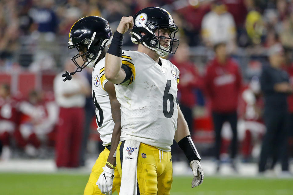 Pittsburgh Steelers quarterback Devlin Hodges (6) pumps his fist after a first down completion during the second half of an NFL football game against the Arizona Cardinals, Sunday, Dec. 8, 2019, in Glendale, Ariz. (AP Photo/Rick Scuteri)