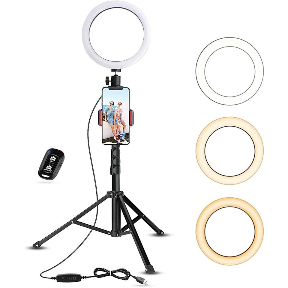 """The budding creator can get up and running with this does-it-all <a href=""""https://www.glamour.com/gallery/best-ring-lights?mbid=synd_yahoo_rss"""" rel=""""nofollow noopener"""" target=""""_blank"""" data-ylk=""""slk:ring light"""" class=""""link rapid-noclick-resp"""">ring light</a> kit that won't break the bank. $40, Amazon. <a href=""""https://www.amazon.com/UBeesize-Ringlight-YouTube-Photography-Compatible/dp/B07GDC39Y2/ref=sr_1_1?"""" rel=""""nofollow noopener"""" target=""""_blank"""" data-ylk=""""slk:Get it now!"""" class=""""link rapid-noclick-resp"""">Get it now!</a>"""