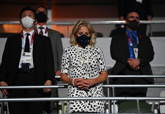 U.S. first lady Jill Biden observes a moment of silence during the opening ceremony of the Tokyo Olympics, July 23, 2021. / Credit: DYLAN MARTINEZ / REUTERS