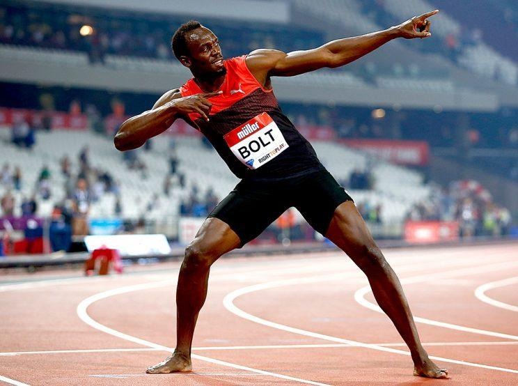 LONDON, ENGLAND - JULY 22: Usain Bolt of Jamaica celebrates after winning the mens 200m during Day One of the Muller Anniversary Games at The Stadium - Queen Elizabeth Olympic Park on July 22, 2016 in London, England. (Photo by Christopher Lee/Getty Images )