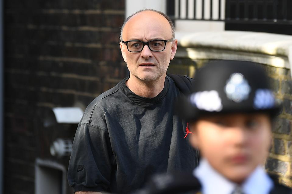 Prime Minister Boris Johnson's top aide Dominic Cummings leaves his north London home as the row over his trip to Durham during lockdown continues. (Photo by Victoria Jones/PA Images via Getty Images)