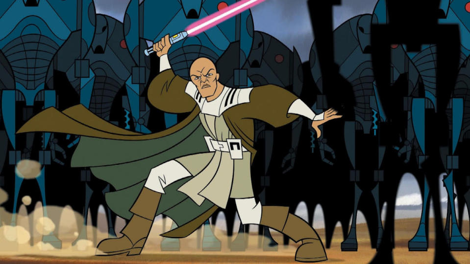 animated mace windu faces an army of droids brandishing his lightsaber