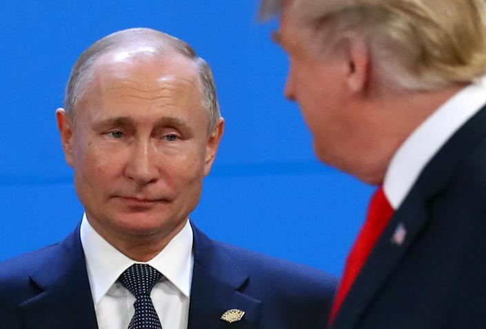 Russia's President Vladimir Putin and U.S. President Donald Trump are seen during the G20 summit in Buenos Aires, Argentina, Nov. 30, 2018. (Photo: Marcos Brindicci/Reuters)