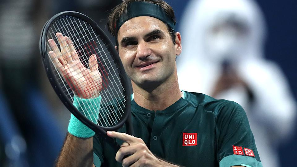 Roger Federer, pictured here celebrating his win after 405 days away from the ATP Tour.
