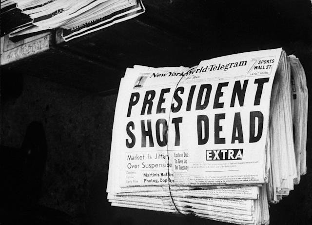 <p>Newspaper announcing John F. Kennedy's assassination. (Photo: Herb Scharfman/The LIFE Images Collection/Getty Images) </p>