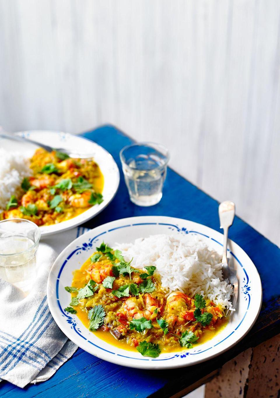 """<p><strong>Recipe: <a href=""""https://www.goodhousekeeping.com/uk/food/recipes/a29103793/prawn-coconut-curry/"""" rel=""""nofollow noopener"""" target=""""_blank"""" data-ylk=""""slk:Keralan-Style Prawn and Coconut Curry"""" class=""""link rapid-noclick-resp"""">Keralan-Style Prawn and Coconut Curry</a></strong></p>"""