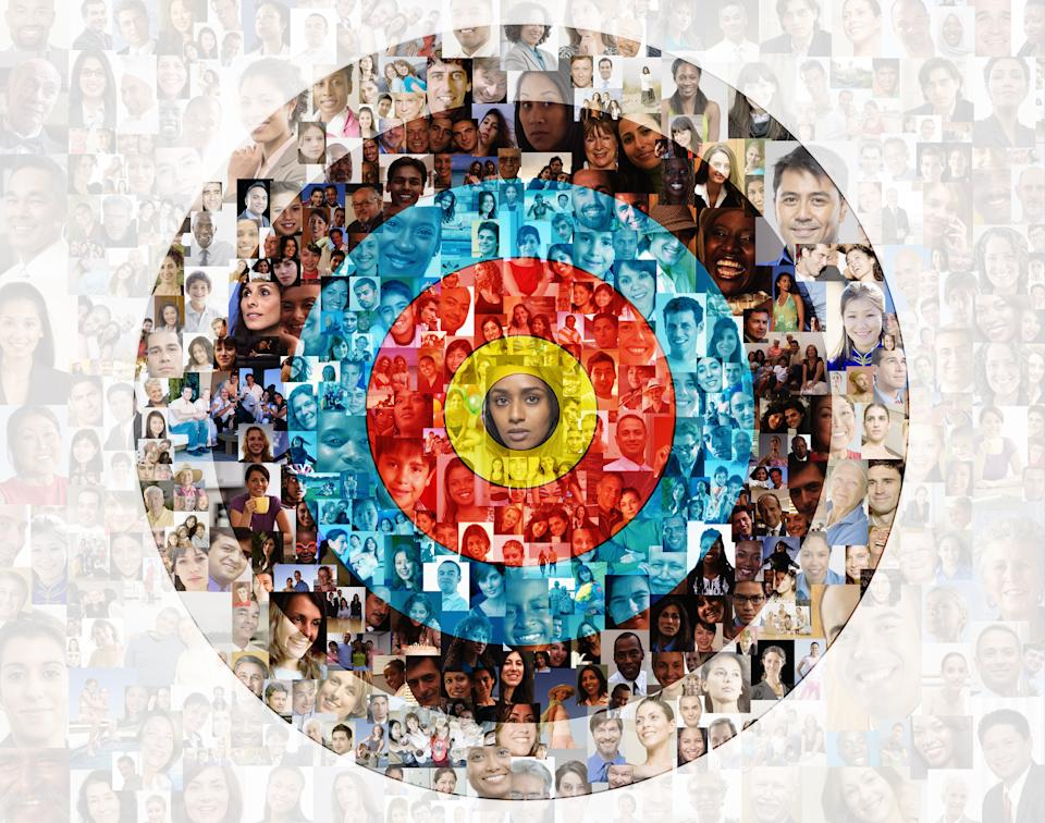 Hundreds of social media portraits are superimposed over a target. Photo: Getty