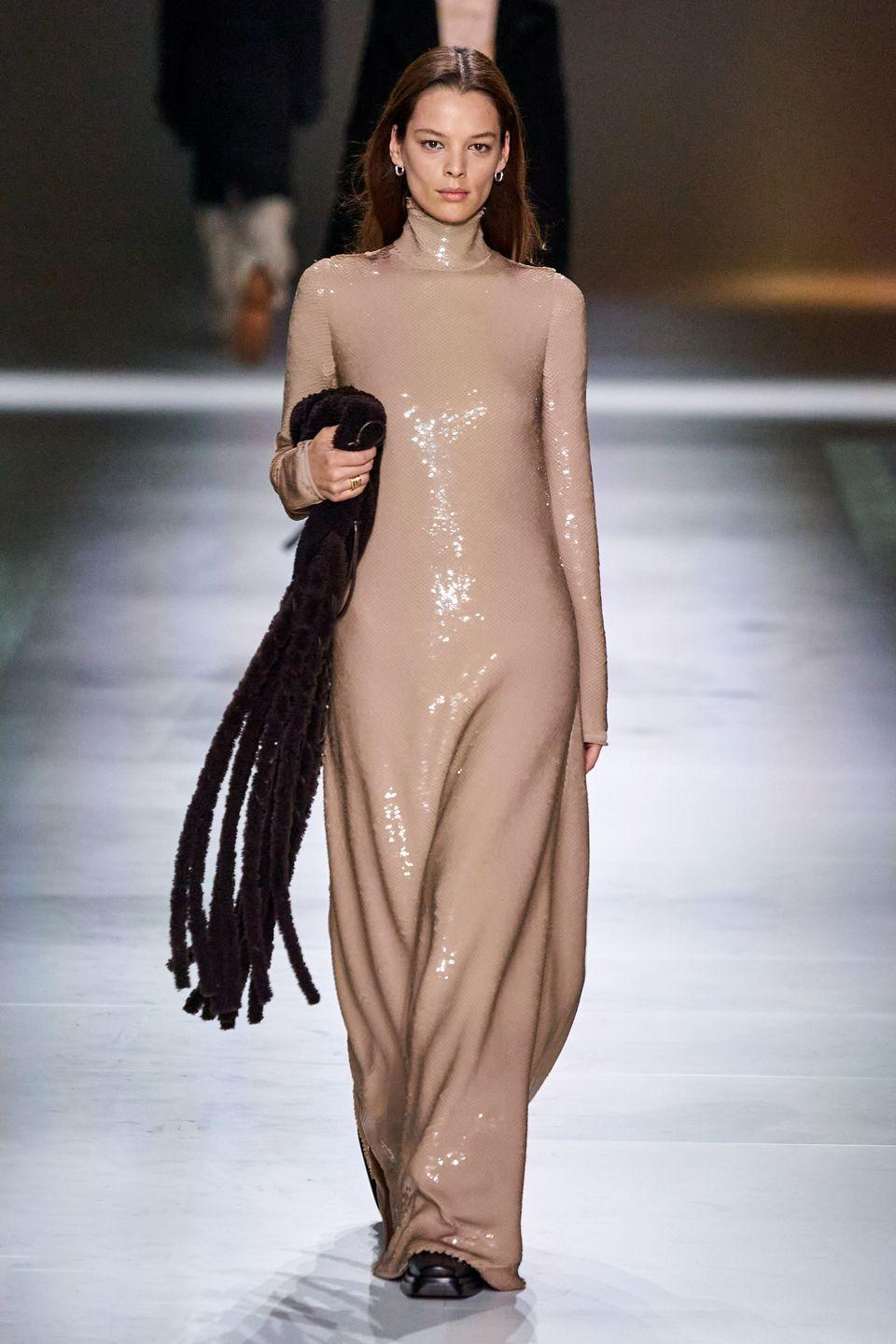 <p>Column gowns are here to be your new favorite winter outfit when you don't feel like wearing pants or tights.</p><p><em>Bottega Veneta<br></em></p>