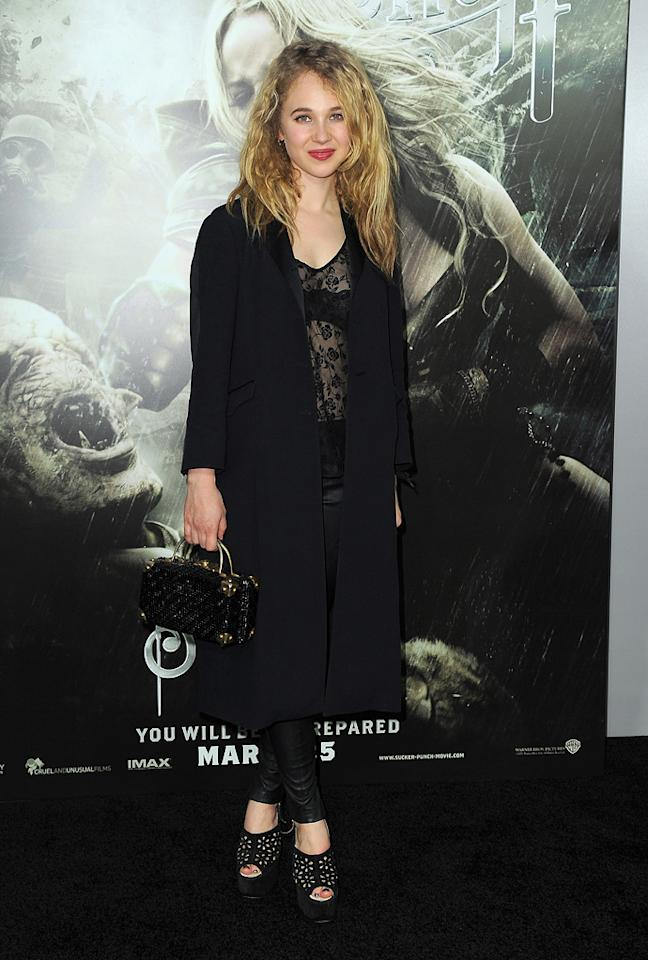 """<a href=""""http://movies.yahoo.com/movie/contributor/1809163269"""">Juno Temple</a> at the Los Angeles premiere of <a href=""""http://movies.yahoo.com/movie/1810133258/info"""">Sucker Punch</a> on March 23, 2011."""