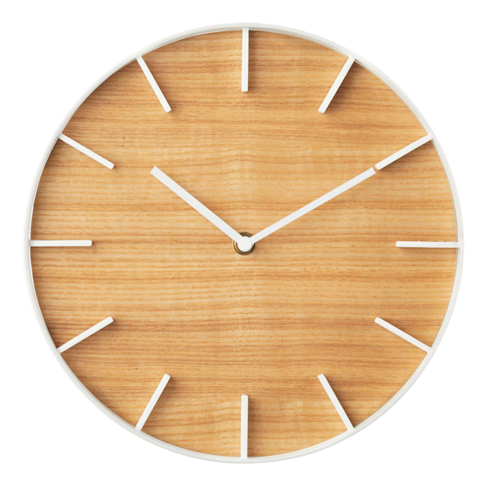 """Another one of our favorite contemporary wall clocks is this Japanese design. It comes in two styles: ash wood with white accents or walnut wood with black accents. The clock measures 10.4 inches in diameter. $50, Yamakazi Home. <a href=""""https://theyamazakihome.com/products/rin-wall-clock"""" rel=""""nofollow noopener"""" target=""""_blank"""" data-ylk=""""slk:Get it now!"""" class=""""link rapid-noclick-resp"""">Get it now!</a>"""