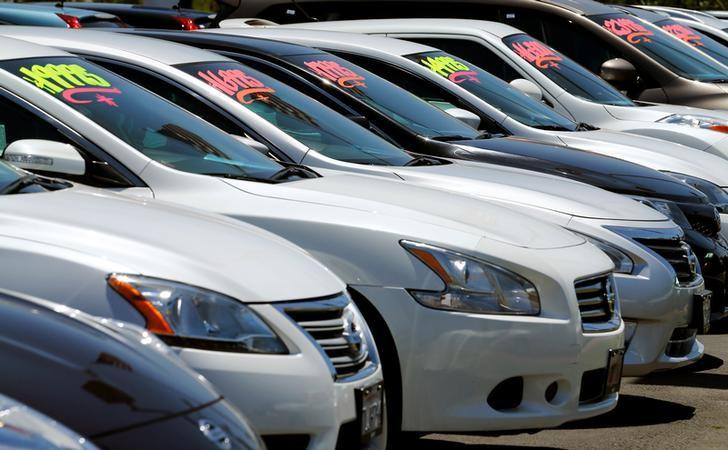 Automobiles are shown for sale at a car dealership in Carlsbad, California
