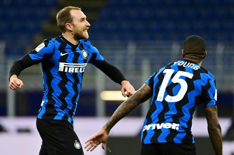Inter midfielder Christian Eriksen (L) scored his first goal of the season in the Italian Cup against AC Milan.