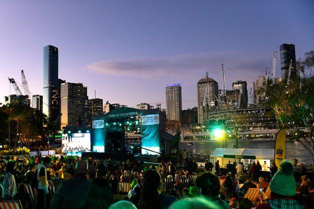 BRISBANE, AUSTRALIA - JULY 21: A general view is seen of the stage area during the announcement of the host city for the 2032 Olympic Games, watched via live feed in Tokyo, at the Brisbane Olympic Live Site on July 21, 2021 in Brisbane, Australia. (Photo by Albert Perez/Getty Images) (Photo: Albert Perez via Getty Images)