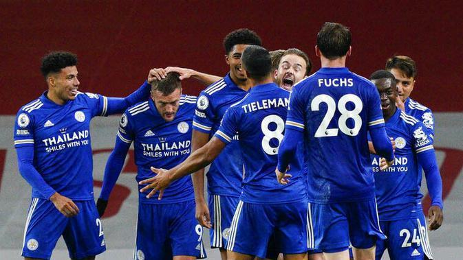 Para pemain Leicester City. (Will Oliver/Pool via AP)