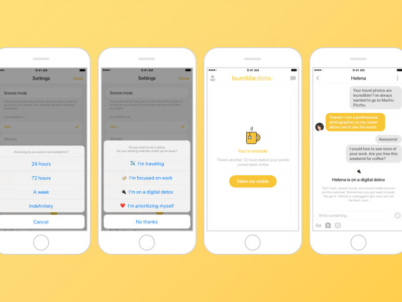 Bumble Introduces Snooze, A Simple Way To Take A Swipe Break