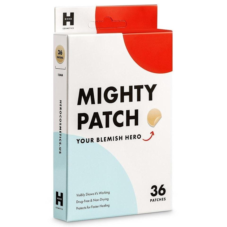 """Got one particular spot that just won't quit? Try Hero Cosmetics' Mighty Patch. Many of the <a href=""""https://www.allure.com/gallery/best-pimple-patches?mbid=synd_yahoo_rss"""" rel=""""nofollow noopener"""" target=""""_blank"""" data-ylk=""""slk:pimple patches"""" class=""""link rapid-noclick-resp"""">pimple patches</a> available on the market (including these) are made with <a href=""""https://www.allure.com/story/hydrocolloid-bandages-acne-stickers?mbid=synd_yahoo_rss"""" rel=""""nofollow noopener"""" target=""""_blank"""" data-ylk=""""slk:hydrocolloid"""" class=""""link rapid-noclick-resp"""">hydrocolloid</a>, which is a safe anti-inflammatory ingredient that soothes the skin. """"Hydrocolloid dressings are used in dermatology for wound healing and it has been interesting for me as a dermatologist to see this safely and creatively being used in skin care,"""" Robinson says."""