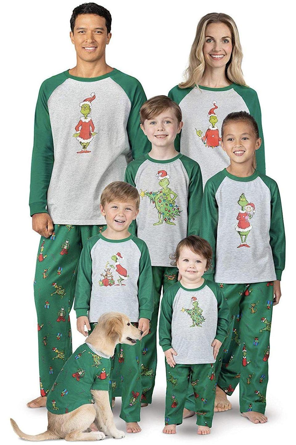 """<p><strong>PajamasGram</strong></p><p>Starting from $21</p><p><a href=""""http://www.amazon.com/dp/B07BF83TYM/?tag=syn-yahoo-20&ascsubtag=%5Bartid%7C10055.g.4946%5Bsrc%7Cyahoo-us"""" rel=""""nofollow noopener"""" target=""""_blank"""" data-ylk=""""slk:Shop Now"""" class=""""link rapid-noclick-resp"""">Shop Now</a></p><p>Even the most reluctant pajama-wearer will give in when they see the <a href=""""https://www.amazon.com/How-Grinch-Stole-Christmas-Ultimate/dp/B07HSP85S6?tag=syn-yahoo-20&ascsubtag=%5Bartid%7C10055.g.4946%5Bsrc%7Cyahoo-us"""" rel=""""nofollow noopener"""" target=""""_blank"""" data-ylk=""""slk:Grinch"""" class=""""link rapid-noclick-resp"""">Grinch</a>-inspired pattern on these PJ pants.</p>"""
