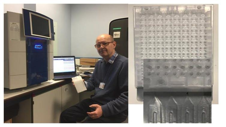 Left, Martin Curran in his lab holding the array. Right, closeup of the card.