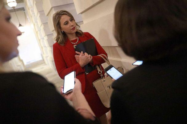 PHOTO: Rep. Katie Hill, D-CA, answers questions from reporters at the U.S. Capitol following her final speech on the floor of the House of Representatives in Washington, D.C., Oct. 31, 2019. (Win Mcnamee/Getty Images, FILE)