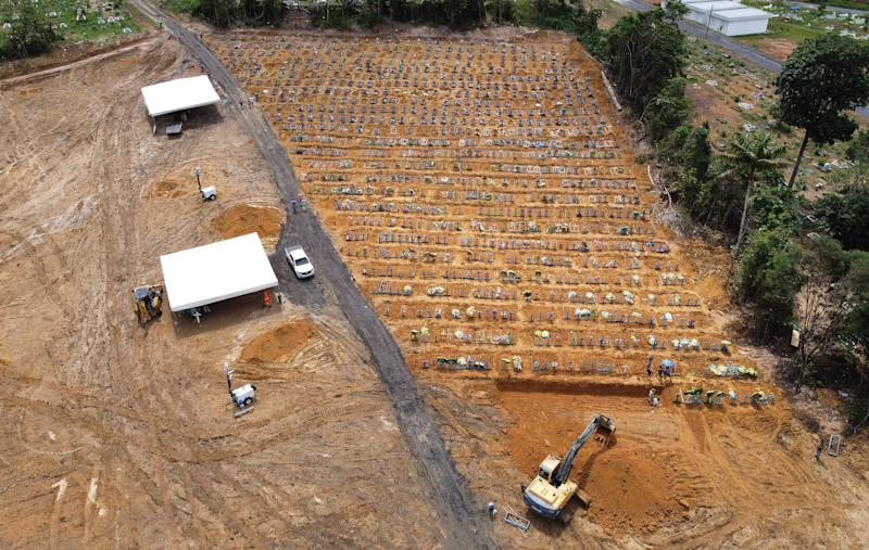 TOPSHOT - Aerial view of Nossa Senhora cemetery -where Brazilian Ulisses Xavier, 52, has worked for 16 years- in Manaus, Brazil, on May 7, 2020, amid the new coronavirus pandemic. - Xavier works 12 hours a day and supplements his income by making wooden crosses for graves. The cemetery has seen a surge in the number of new graves after the outbreak of COVID-19. (Photo by MICHAEL DANTAS / AFP) (Photo by MICHAEL DANTAS/AFP via Getty Images)