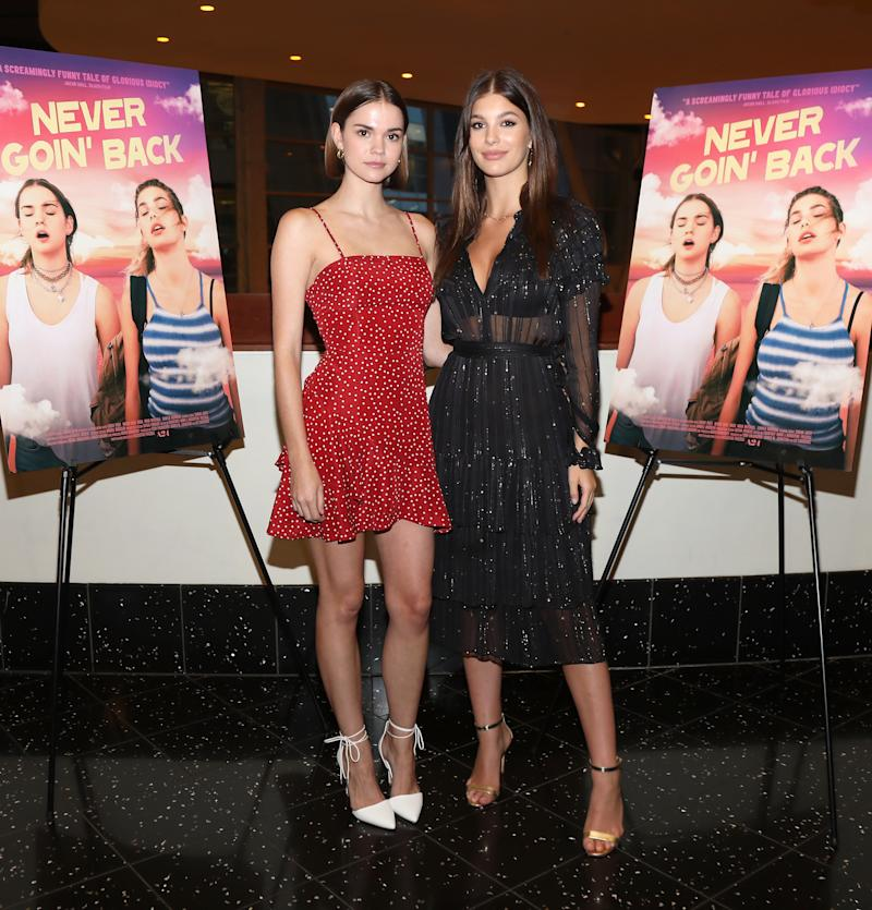 Maia Mitchell and Camila Morrone attend a screening and Q&A for A24's Never Goin' Back at ArcLight Hollywood on July 25, 2018, in Hollywood, California.