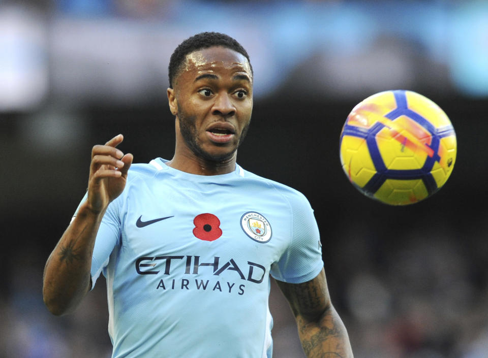 Manchester City's Raheem Sterling chases the ball during the English Premier League soccer match between Manchester City and Arsenal at Etihad stadium, Manchester, England, Sunday, Nov. 5, 2017. (AP Photo/Rui Vieira)