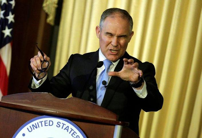 Scott Pruitt, administrator of the Environmental Protection Agency, speaks to employees of the agency in Washington, D.C., on Tuesday. (Photo: Joshua Roberts/Reuters)