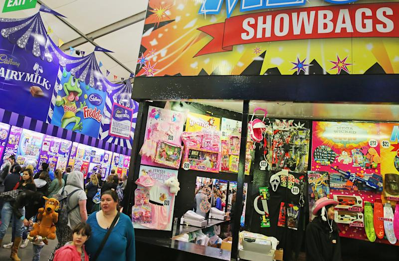 People shop for showbags in the Showbag Pavilion