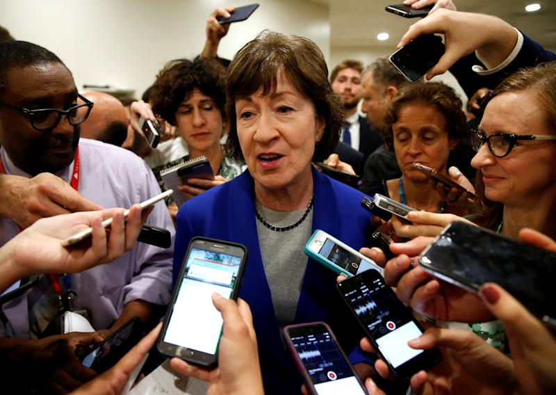 Sen. Susan Collins (R-Maine) speaks to reporters June 22 after Senate Republicans unveiled a version of legislation to replace Obamacare. (Joshua Roberts / Reuters)