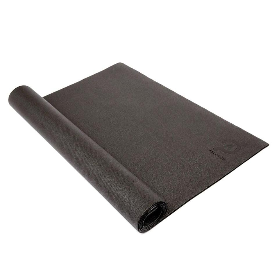 <p>The heavy duty gym-quality material makes the official <span>Peloton Bike Mat</span> ($59) a trustworthy investment, and it can be purchased on its own, or in a set of other bike accessories.</p>