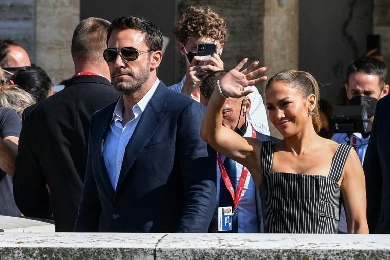 """""""Bennifer"""" is back, with Lopez joining Affleck for the premiere of his new film """"The Last Duel"""" (AFP/Filippo MONTEFORTE)"""