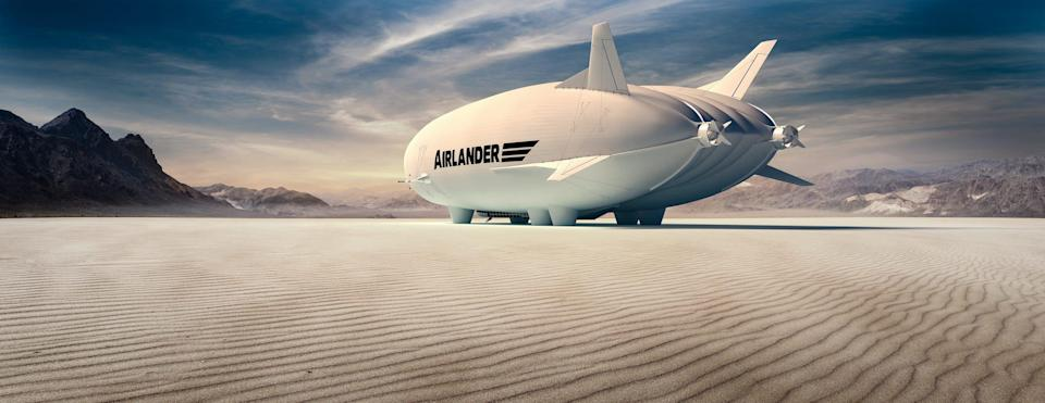 The Airlander 10 in a desert