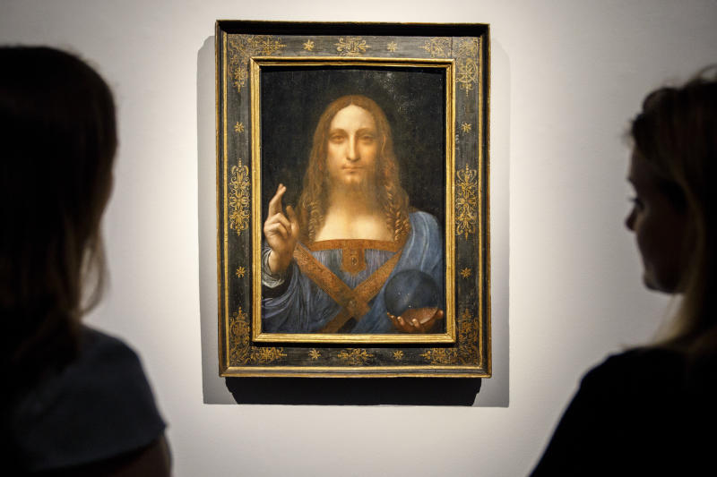 """Salvator Mundi"" is a portrait of Christ that's been attributed to Leonardo da Vinci circa 1500. (TOLGA AKMEN via Getty Images)"