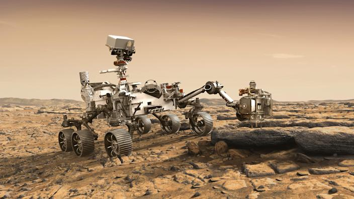 In this illustration made available by NASA, the Mars 2020 Perseverance rover studies a Mars rock outrcrop. The Perseverance Mars rover is due to land on Mars  Feb. 18, 2021. A key objective for Perseverance's mission on Mars is astrobiology, including the search for signs of ancient microbial life. The rover will characterize the planet's geology and past climate, paving the way for human exploration of the Red Planet, and be the first mission to collect and cache Martian rock and regolith.