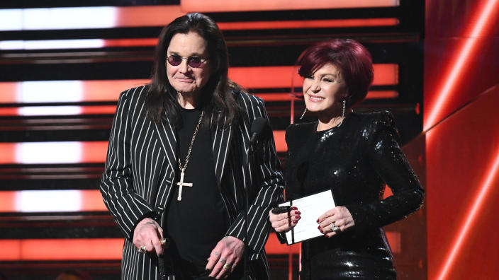 Ozzy Osbourne and Sharon Osbourne present the award for Best Rap/Sung Performance during the Grammy Awards on January 26, 2020. (Photo by Robyn Beck/AFP via Getty Images)