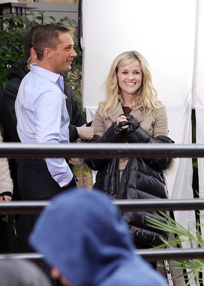 """<i>In Touch</i> reports that Reese Witherspoon's """"chemistry"""" with co-star Tom Hardy is so intense, it's even """"driving his fiancee crazy."""" According to the mag, Witherspoon and Hardy play on-screen lovers in """"This Means War,"""" but their """"friendship is blossoming off-camera as well."""" For the scoop on how hot it's getting between Witherspoon and Hardy -- even when the cameras aren't rolling -- read what an on-set source dishes to <a href=""""http://www.gossipcop.com/reese-witherspoon-tom-hardy-this-means-war-charlotte- riley/"""" target=""""new"""">Gossip Cop</a>. R Chiang/<a href=""""http://www.splashnewsonline.com"""" target=""""new"""">Splash News</a> - November 19, 2010"""