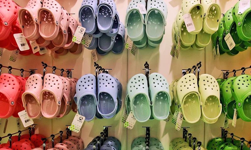 Wall display of colorful crocs