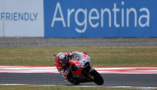 Motorcycle Racing - Argentina Motorcycle Grand Prix - MotoGP Practice Session - Termas de Rio Hondo, Argentina - April 7, 2018 - Ducati Team rider Andrea Dovizioso of Italy races during the third practice session. REUTERS/Marcos Brindicci