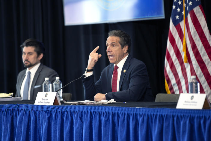 SYRACUSE, NY - APRIL 28:  New York State Governor Andrew Cuomo speaks during his daily Coronavirus press briefing at SUNY Upstate Medical University on April 28, 2020 in Syracuse, New York.  Cuomo detailed guidelines to reopening parts of New York State around May 15, 2020.  (Photo by Stefani Reynolds/Getty Images)