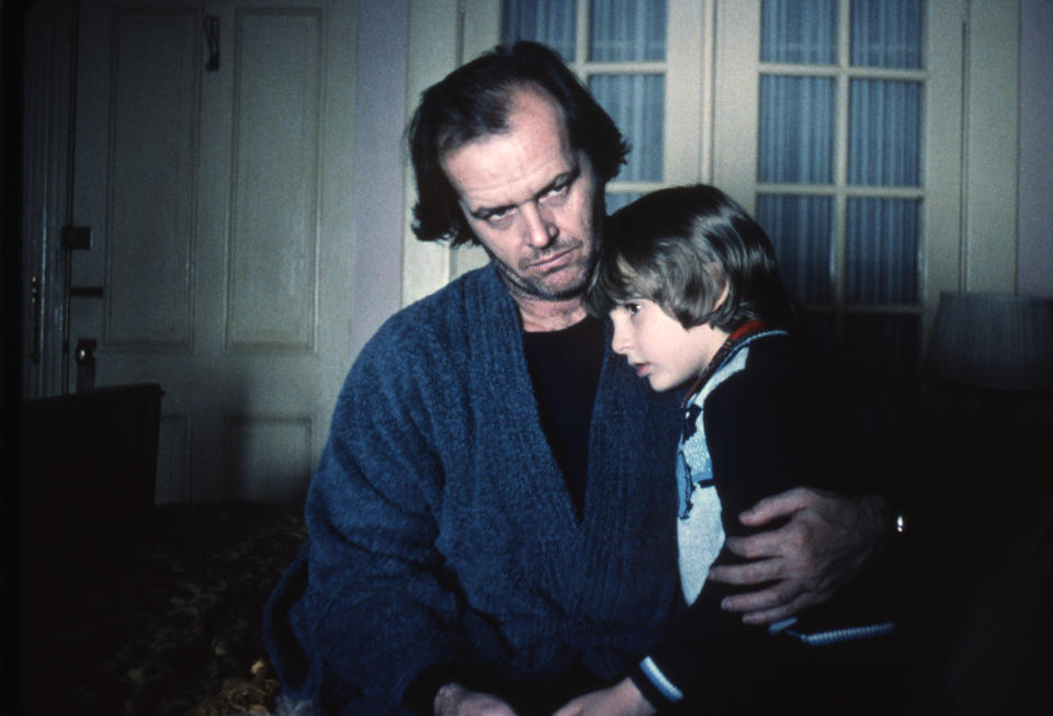 American actors Jack Nicholson and Danny Lloyd on the set of The Shining, based on the novel by Stephen King, and directed by Stanley Kubrick. (Photo by Sunset Boulevard/Corbis via Getty Images)