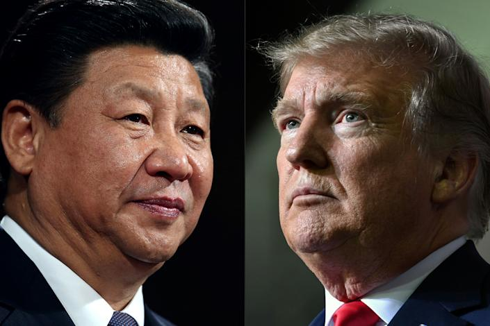 """(COMBO) This combination of pictures created on May 14, 2020 shows recent portraits of   China's President Xi Jinping (L) and US President Donald Trump. - US President Donald Trump said on May 14, 2020, he is no mood to speak with China's Xi Jinping, warning darkly he might cut off ties with the rival superpower over its handling of the coronavirus pandemic. """"I have a very good relationship, but I just -- right now I don't want to speak to him,"""" Trump told Fox Business. (Photos by Dan Kitwood and Nicholas Kamm / various sources / AFP) (Photo by DAN KITWOOD,NICHOLAS KAMM/AFP via Getty Images)"""