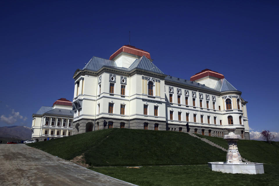 FILE - This April 18, 2020 file photo, shows the Darul Aman Palace which is being used as a temporary health facility for COVID-19 patients in Kabul, Afghanistan. The Taliban fighters who rolled into Afghanistan's capital and other cities in recent days appear awestruck by the towering apartment blocks, modern office buildings and shopping malls. When the Taliban last seized power, in 1996, the country had been ravaged by civil war and the capital was in ruins. (AP Photo/Rahmat Gul, File)