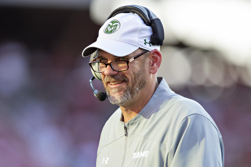 FAYETTEVILLE, AR - SEPTEMBER 14: Head Coach Mike Bobo of the Colorado State Rams on the sidelines during a game against the Arkansas Razorbacks at Razorback Stadium on September 14, 2019 in Fayetteville, Arkansas. The Razorbacks defeated the Rams 55-34. (Photo by Wesley Hitt/Getty Images)