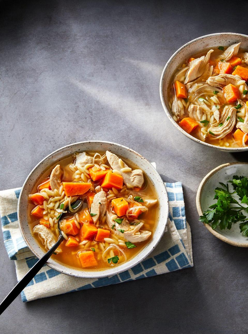 "<p><strong>Recipe: </strong><a href=""https://www.southernliving.com/recipes/lemon-chicken-orzo-soup"" rel=""nofollow noopener"" target=""_blank"" data-ylk=""slk:Lemon Chicken Orzo Soup"" class=""link rapid-noclick-resp""><strong>Lemon Chicken Orzo Soup</strong></a></p> <p>Regardless the season, a warm bowl of chicken soup is always just what the doctor ordered when you need a little comfort. Our Food Editor shared a few shortcut tips that she's used on this recipe: Swapped out the orzo for farro to add some healthy whole grains (up the cooking time by 15 minutes). Used a shredded rotisserie chicken (you'll need 3 cups of chicken). Substituted fresh thyme for the parsley.</p>"