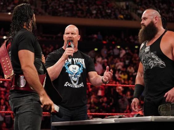 Austin was on hand for the universal championship match contract signing (WWE )