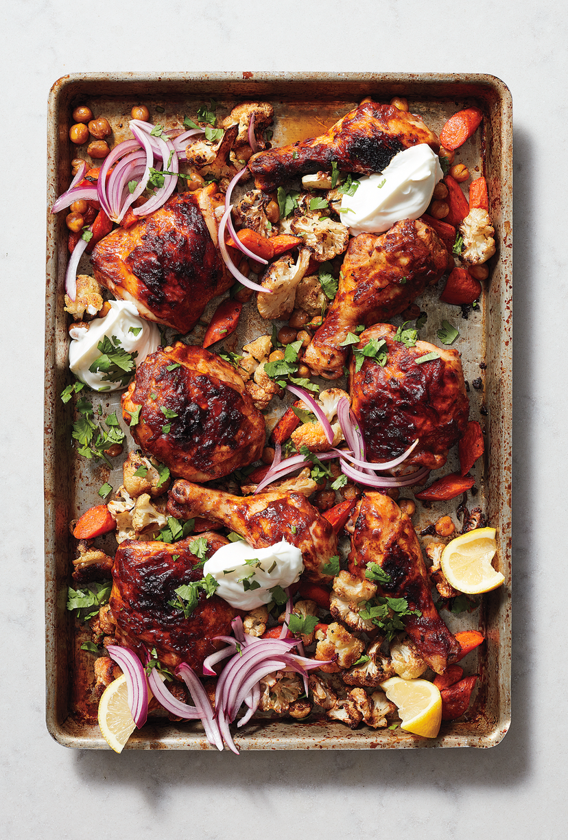 """<p>Sheet pan recipes are hands-down the best meals to cook when you need to warm up the house. This chicken tikka masala makes the most of the curry sauce and includes plenty of plants, including chickpeas, red onion, cilantro, and cauliflower.</p><p><a href=""""https://www.prevention.com/food-nutrition/recipes/a25620918/chicken-tikka-sheet-pan-recipe/"""" rel=""""nofollow noopener"""" target=""""_blank"""" data-ylk=""""slk:Get the recipe »"""" class=""""link rapid-noclick-resp""""><strong><em>Get the recipe »</em></strong></a></p>"""