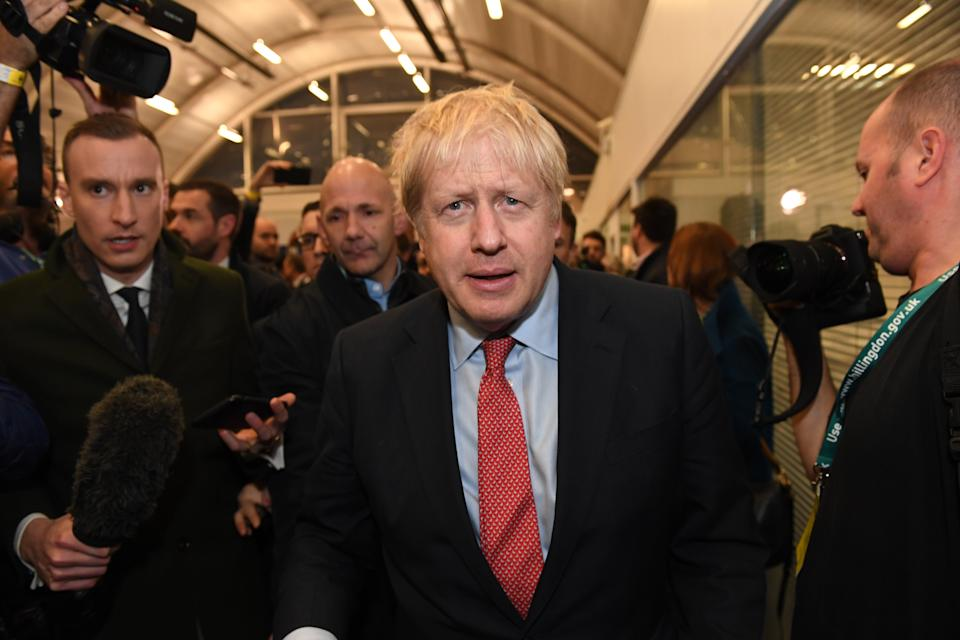 Prime Minister Boris Johnson arriving for the count for the Uxbridge & Ruislip South constituency in the 2019 General Election. (Photo by Stefan Rousseau/PA Images via Getty Images)